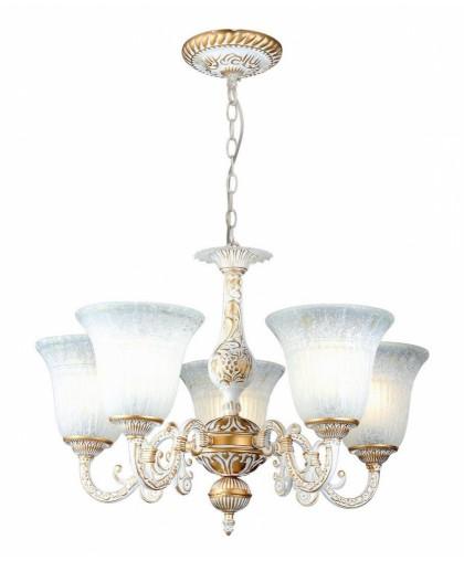 Люстра Arte Lamp A1032LM-5WG, диаметр 60 см, бело-золотой