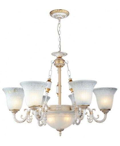 Люстра Arte Lamp A1032LM-6-3WG, диаметр 78 см, бело-золотой